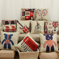 Wholesale british decorations - Cushion Cover Simple British Pattern Pad Pi London Street Pillow Cover Thick Cotton and Linen Pillowcase Home Decoration Pillow Case