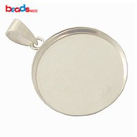 Wholesale 925 Sterling Silver Pendant Bails - Bezel Cup Tray with Bail Sterling Silver 925, 21.5mm, inside diameter:20mm, sold by PC, ID 27612