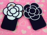 ingrosso iphone 4.7 silicio-Custodia in silicone 3D Fashion Soft Silicon Camellia per iPhone 7 5 6 6S Plus 4.7 5.5 Cases Black White