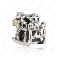 Wholesale Two Teddy Bears - Authentic 925 Sterling Silver Christmas Santa's Sleigh Charms Beads Two Tone Heart Teddy Bear Bead DIY Brand Bracelet Jewelry Accessories