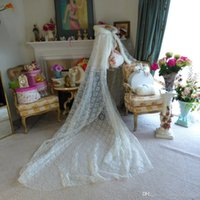 Wholesale Lace Fur Satin - Bridal Cape & Veil 3-in-one Cape 105-inch Ivory Lace   Ivory Satin Wedding Cloak Hooded with Fur Trim Handmade Wedding Gown Train Christmas