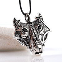 colgantes de cabeza de lobo al por mayor-Nuevo 2016 Norse Vikings Colgante Collar Norse Wolf Head Collar Original Animal Jewelry Wolf Head hange Envío gratis
