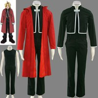 Anime giapponese <b>Fullmetal Alchemist Cosplay</b> Edward Elric Costume Cloak + Top + T-shirt + Pants + Guanto per set per l'uomo