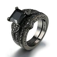 Wholesale Princess Round Diamond Ring - Princess Cut Black Zircon Bridal Set Black Gold Filled Solid Ring Set Round Diamond Engagement Ring Bridal Set Wedding Ring Jewelry Black