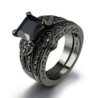 Princess Cut Black Zircone Set da sposa Black Gold Filled Solid Ring Set Round Diamond Fidanzamento Anello da sposa Set Wedding Ring Gioielli Black