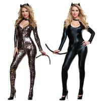 Wholesale Leopard Bodysuit Costume - High Quality Female Sexy Black Leopard Catwoman Costume Low Cut Out Leather PU Bodysuit Fantasia Cat Tail Ears Halloween Clubwear Cosplay