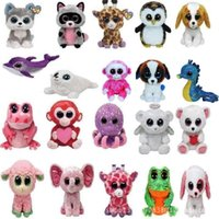 Wholesale Designed Beanies - 20 Design Ty Beanie Boos Plush Stuffed Toys 6inch Wholesale Big Eyes Animals Soft Dolls for baby Birthday Gifts ty toys B