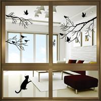 vinilos adhesivos vinilos negro arbol aves al por mayor-Black Bird Tree Branch Glass Window Stickers Decoración Del Hogar Pegatinas de Pared Arte Vinilo Tatuajes de Pared Nueva Llegada