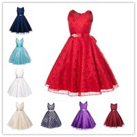 Wholesale Samgami Dress - Samgami Baby baby girls princess party dress with sash sleeveless dress princess mesh lace dress girls birthday dress for baby girl
