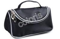 Wholesale Smile Bags - Travel Cosmetic Bags Double Zipper Black Makeup Bags Smile Handbag ( 12 Pcs Lot)