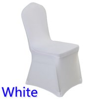 Wholesale Cheap White Wedding Chairs - Colour white cheap chair cover spandex lycra elastic chair cover strong pockets for wedding decoration hotel banquet wholesale