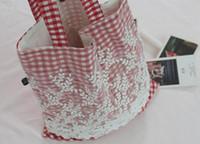 Wholesale Cloth Soft Book - Lace cloth women handbag lovely student single shoulder plaid tote bag cotton and linen book, clothes carrying shopper bag