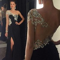 Wholesale Single Sleeve Illusion Prom - Sparkly Black Prom Dress One Shoulder Single Sleeve Illusion Crystals Beads Chiffon Evening Party Gowns with Split Sweep Train