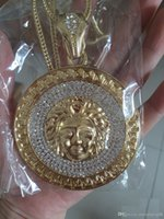 Wholesale avatar pendant - 24K gold plated Medusa Avatar High quality crystal jesus piece pendant Fashion Jewelry