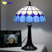 Wholesale Mediterranean Bedside Lamps - FUMAT Mediterranean Style Table Lamps Blue Stained Glass Shade Table Lamps For Living Room Bedside Art Fashion LED Table Lamps