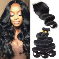 Wholesale Double Drawn Peruvian - Body Wave 3 Bundles With Lace Closure Raw Virgin Hair Unprocessed Double Drawn Weaves Mink Brazilian Hair Wholesale Natural Black