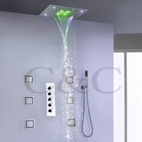 Wholesale Contemporary Bathroom Sets - 4 Water Functions Work Together Or Separately 50X36 CM Rain Waterfall Shower Head Bathroom LED Shower Faucet Set 008-50X36P-6MK