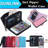 Wholesale wallet zip for iphone - Flip Magnetic 2 in 1 Zip Zipper Leather Wallet case Coin Purse Credit Card Photo Cover for iPhone X 8 8P 6 for Samsung S8 Note 8