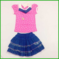 Wholesale White Pearl Zebra - top fashion selling girls dress suits short t-shirts baby lovely neck dot pink white layered tulle dress children clothing pearl bow floral