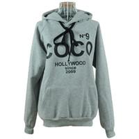 hoodies kadın xxxl toptan satış-2016 kadın Hoodies Baskılı COCO Tişörtü Sonbahar Kış Spor Giyim Parka Palto Kadınlar Kazaklar S-XXXL