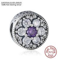 Wholesale Purple Pandora Charms - Fits Pandora Bracelets Purple Clear CZ Forget Me Not Charm Beads 925 Sterling Silver 2016 Spring Flower Beads DIY Fine Jewelry