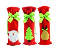 joyeux outil achat en gros de-Décoration de table de Noël de DHL Sacs de couvercle de bouteille de vin pour les décorations de Noël Outils de barre de Joyeux Noël Sacs de vin de Noël
