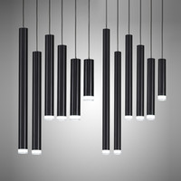 Wholesale black pipe lamps resale online - Creative Pendant Lights Modern Kitchen Lamp Dining Room Bar Counter Shop Pipe Pendant Lights Kitchen Light Cylinder Aluminum