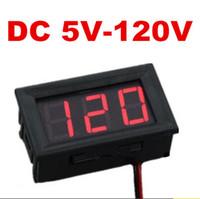 medidor de panel led mini digital al por mayor-Panel de LED rojo Mini voltímetro digital de dos hilos DC 5V a voltímetro medidor de voltaje 120V para el coche