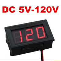 mini mètre numérique achat en gros de-Voltmètre à deux fils numérique DC mini panneau DC 5V à 120V testeur voltmètre volt pour la voiture