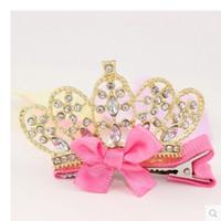 taç takma toptan satış-Toptan Çocuk Saç Klipleri Taç Tiaras Aksesuarları Prenses Çiçek Kız Saç Yaylar Tokalarım Çocuk Bebek Tokalar Rhinestone Boncuklu Tüy