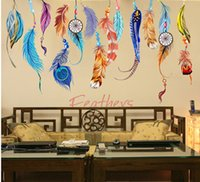Wholesale Decal Feather Design - Classic Feather Art Wall Sticker Creative Dream Catcher PVC Wall Decals Mural Lucky Bedroom Living Wallpaper poster Home Decoration Gifts