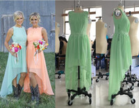 Wholesale Cheap High Low Prom Dresses - 2017 New Beach Chiffon Bridesmaid Dresses Lace Crew Neck High Low Western Country Summer Cheap Plus Size Formal Party Prom Dresses