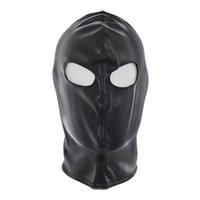 Sexy Black Latex Open Eyes Fetish Mask Halloween Spandex Head Bondage Hood Fetish Faux Leather Sex Mask Секс-игрушки для пары Hot