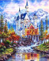 ölgemälde schloss landschaft großhandel-Gerahmte reine handgemalte Landschaftskunst Ölgemälde schöne Märchenschloss auf High Qudlity Leinwand Home Wall Art Decor Mulitiple Größen