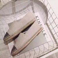 Wholesale Design Espadrilles - women genuine Leather flats design canvas shoe nets upgrade espadrilles striped denim casual shoes loafers ballerines femme chaussures cc263
