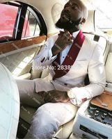 Wholesale Skinny Flat Ties - Wholesale- 2017 Groomsmen White Pattern Groom Tuxedos Shawl Wine Lapel Men Suits One Button Wedding Best Man Blazer (Jacket+Pants+Tie) Z207
