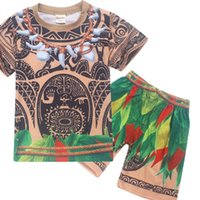 Wholesale Leopard Costume Cheap - Korean Vaiana Children Clothing Set for Boys Moana Cartoon Casual Sports Suits T Shirt+pant Cheap Baby Summer Clothes Costume