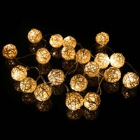 ingrosso luce della sfera stringa rgb-LED Rattan Ball modellazione String light 4m 20leds Sepak takraw led string 110 v 220 v rgb bianco caldo bianco per interni yard decorazione