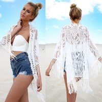 Wholesale Crochet Shirts For Women - FGCS1605 2016 Sexy Women Lace Crochet Tassel Biquini Shirts Beach Style Summer Clothing For Ladies Print Hollow Out blouses femininos