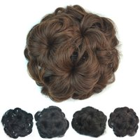 Wholesale European Clip Curly Hair - Sara Chignon Hair Bun Flower hairstyle SyntheticHair Bun Chignon with Interposing Comb Clip Chignon Hair Pieces Extension Hairpiece