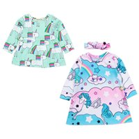 Wholesale baby unicorns - Girls Dress Unicorn Printed Newborn Kids Baby Long Sleeve Dress Summer Casual Dresses Outfit Clothes 0-18M