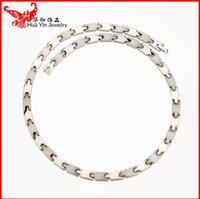 Wholesale Titanium Germanium Silver - Wholesale jewelry necklace gold and silver color of pure titanium man negative health titanium germanium necklace antifatigue free postage