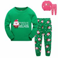 Wholesale Baby Winter Sleeping Suit - Wholesale Fashion Kids Christmas Sleeping Dress Boys Girls Pajamas Sets Santa Baby Sleepwear Sleeping Clothes Night Suit Children Home Dress