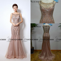 Wholesale Short White Ruched Graduation Dresses - Great Gatsby Vintage Blush Luxury Beaded Mermaid Evening Dresses Wear yousef aljasmi Sheer Neck Cap Sleeve arabic Prom Formal Gowns
