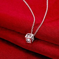 Wholesale Skeleton Sterling - lovely dice pendants charm Necklaces 925 pure silver n750 Christmas Halloween 2016 New Jewelry