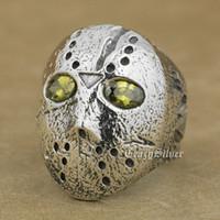 Wholesale biker halloween mask resale online - 925 Sterling Silver Halloween Jason Mask Black Olive Eyes Mens Biker Rocker Punk Ring D104 US Size