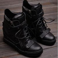Wholesale Black Wedge Sneaker - 2016 Fashion New Brand High Top Wedges Sneakers Women Boots Within the higher High-top Shoes Lace Double Iron Sheet Metal Boots Black Shoes