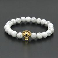 Wholesale Marble Beads Wholesale - Wholesale 10pcs lot Black Eye Micro Pave CZ Music Skeleton Skull Bracelet with 8mm White Howlite Marble Stone Beads