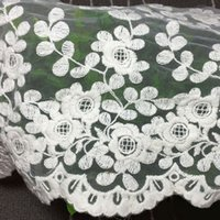 Wholesale Embroidery White Tulle Fabric - Popular 1 Yard White Embroidery Flower Lace Trims Clothes Dress Decor DIY Lacework Tulle Fabric Handmade Lace Accessories YR0061 salebags