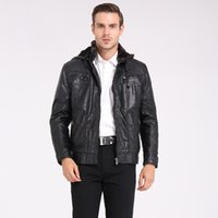 Wholesale Hoodie Leather Jacket Motorcycle - Fall-Plus US Size M-3XL Man Coat Fashion Brand Clothing Autumn Hoodies Thicken Velvet Men's Leather Jacket Winter Motorcycle Jackets